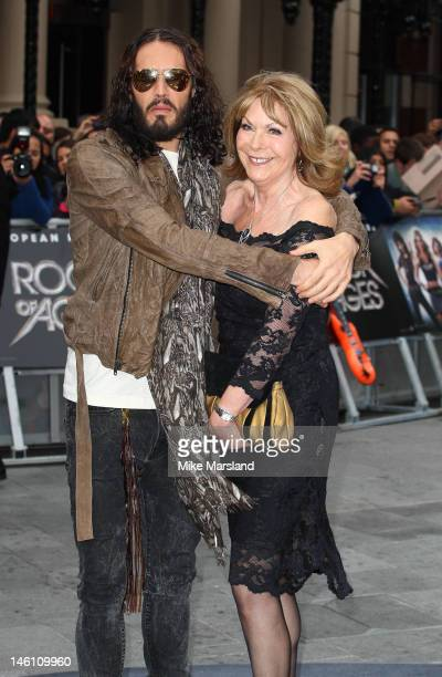 Russell Brand and his mother Barbara Brand attend the European premiere for Rock Of Ages at Odeon Leicester Square on June 10 2012 in London England