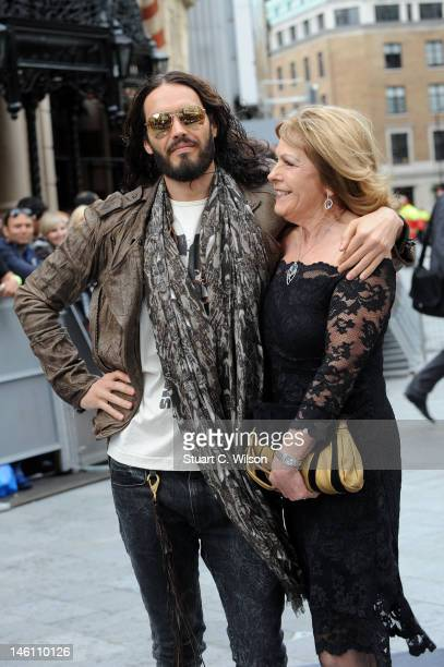 Russell Brand and his mother Barbara Brand attend the European premiere of Rock Of Ages at Odeon Leicester Square on June 10 2012 in London England
