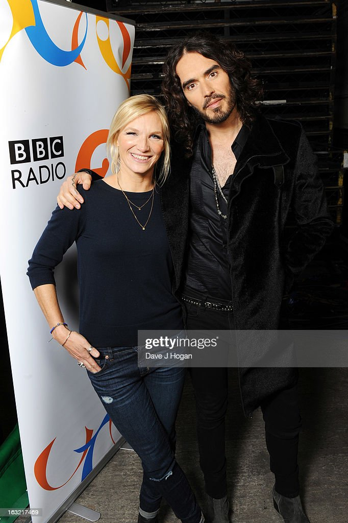 Russell Brand and Jo Whiley attend 'Give It Up For Comic Relief' at Wembley Arena on March 6, 2013 in London, England.