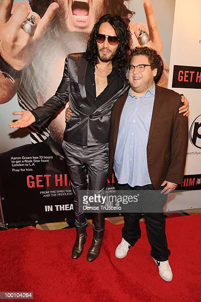 Russell Brand and Jonah Hill arrive at a screening of Universal Pictures' Get Him to the Greek at the Planet Hollywood Resort Casino May 20 2010 in...