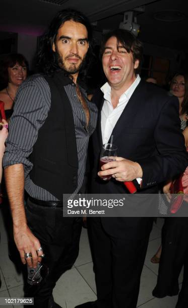 Russell Brand and Jonathan Ross attend the PreWimbledon Party at The Roof Gardens on June 17 2010 in London England