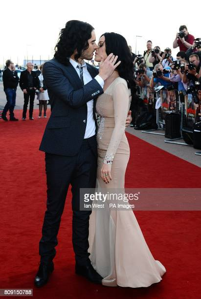 Russell Brand and Katy Perry arriving for the UK Premiere of Arthur at the Cineworld O2 The O2 Arena SE10