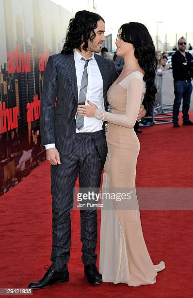 Russell Brand and Katy Perry attend the Arthur European premiere at Cineworld 02 Arena on April 19 2011 in London England