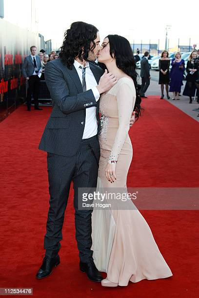 Russell Brand and Katy Perry attend the European premiere of Arthur at the Cineworld O2 on April 19 2011 in London England