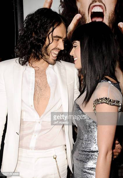 Russell Brand and Katy Perry attend the Los Angeles premiere of 'Get Him To The Greek' at The Greek Theatre on May 25 2010 in Los Angeles California