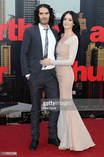 Russell Brand and Katy Perry attends the European premiere of 'Arthur' at Cineworld 02 Arena on April 19 2011 in London England
