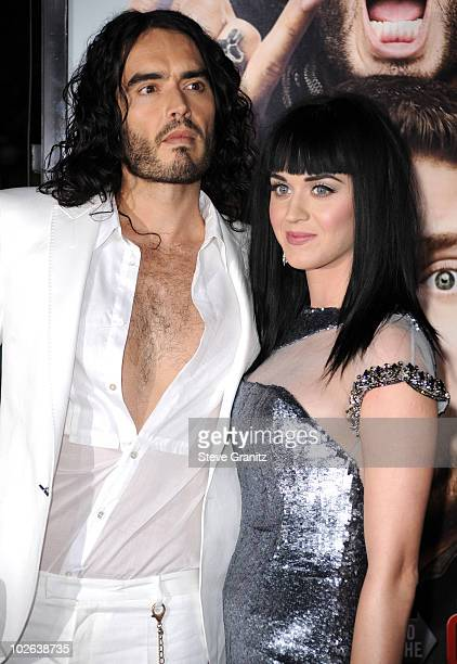 Russell Brand and Katy Perry attends the 'Get Him To The Greek' Los Angeles Premiere at The Greek Theatre on May 25 2010 in Los Angeles California