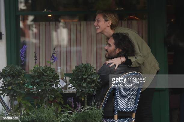 Russell Brand and Laura Gallacher are seen at breakfast at Sam's Cafe in Primrose Hill on September 29 2017 in London England