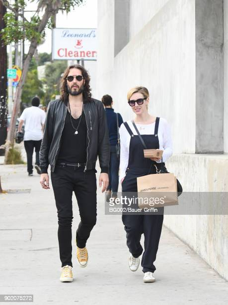 Russell Brand and Laura Gallacher are seen on January 06 2018 in Los Angeles California