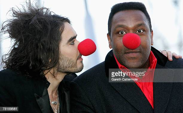 Russell Brand and Lenny Henry launch Red Nose Day at The British Airways London Eye on January 31 2007 in London England This year Red Nose Day falls...