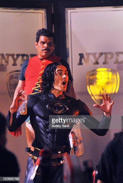 Russell Brand and Luis Guzman on location for 'Arthur'on Streets of Manhattan on July 17 2010 in New York City