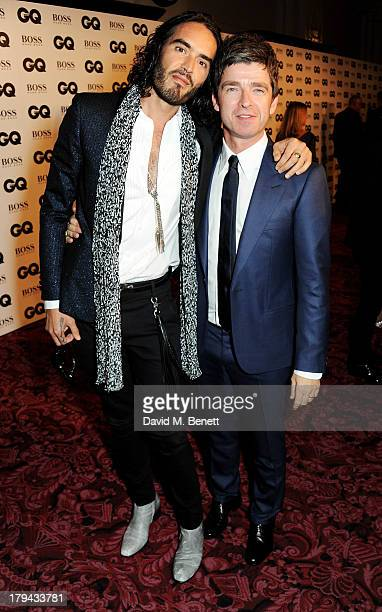 Russell Brand and Noel Gallagher arrive at the GQ Men of the Year awards at The Royal Opera House on September 3 2013 in London England