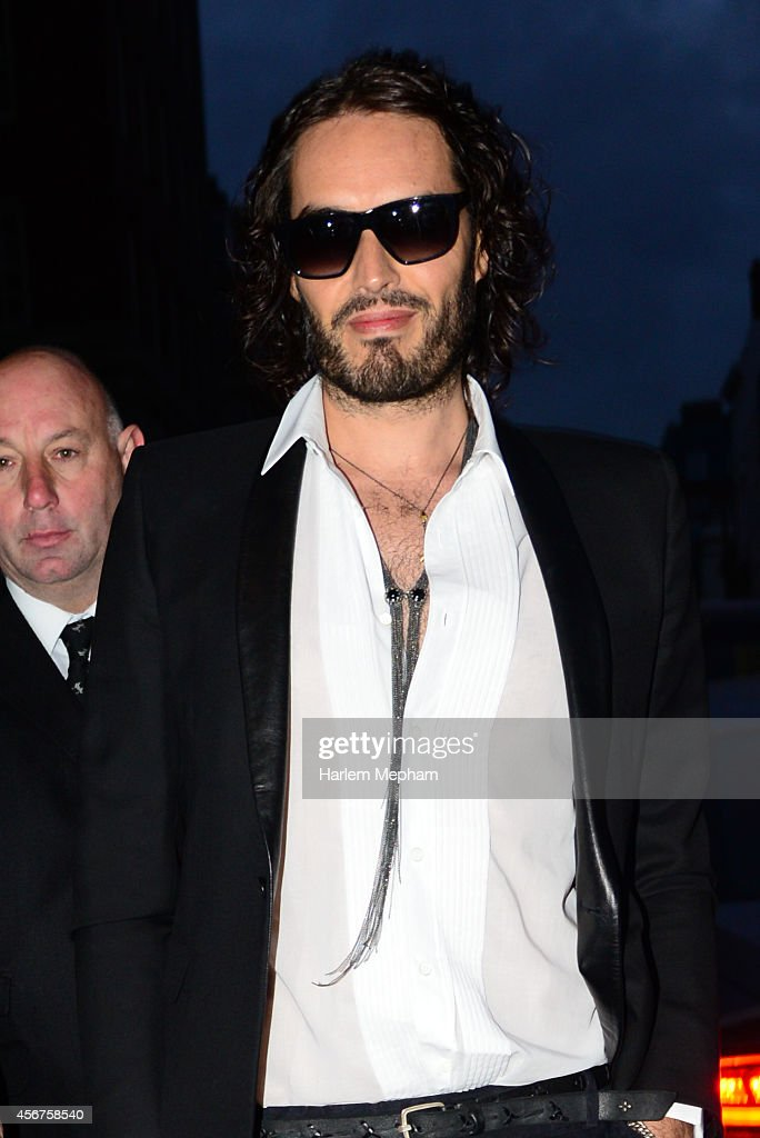 Russell Brand arrives at the Grosvenor House Hotel for the pride of britain awards on October 6, 2014 in London, England.