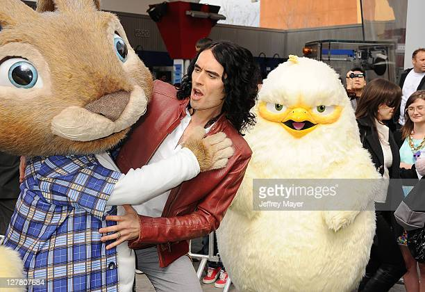 Russell Brand arrives at the Los Angeles premiere of Hop at Universal Studios Hollywood on March 27 2011 in Universal City California