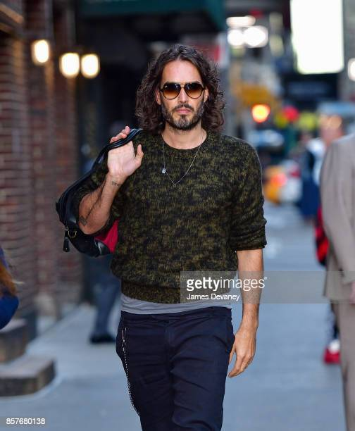 Russell Brand arrives to the 'The Late Show With Stephen Colbert' at the Ed Sullivan Theater on October 4 2017 in New York City