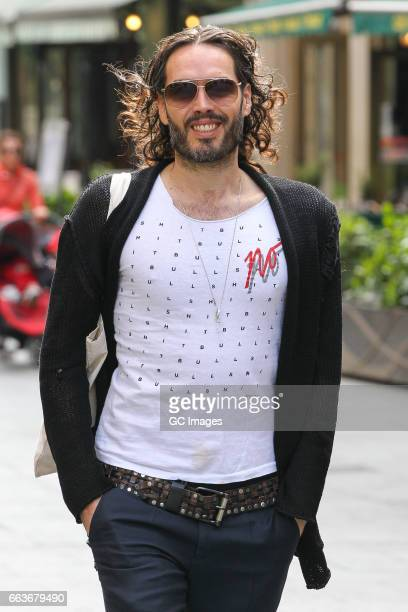 Russell Brand arriving at Radio X Studios as he hosts his first live radio show in eight years on April 2 2017 in London England
