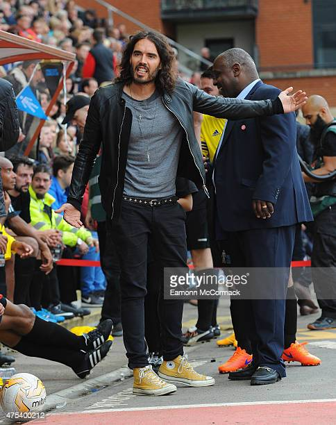 Russell Brand attends the Men United XI v Leyton Orient Legends charity football match at Matchroom Stadium on May 31, 2015 in London, England.