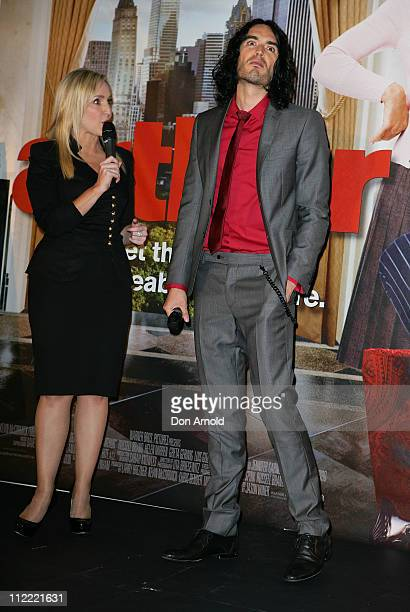 Russell Brand is interviewed by Fifi Box as he attends the Australian premiere of 'Arthur' at Event Cinemas Bondi Junction on April 15 2011 in Sydney...