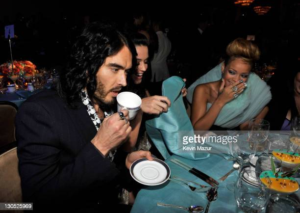 Russell Brand Katy Perry and Rihanna at the 52nd Annual GRAMMY Awards Salute To Icons Honoring Doug Morris held at The Beverly Hilton Hotel on...