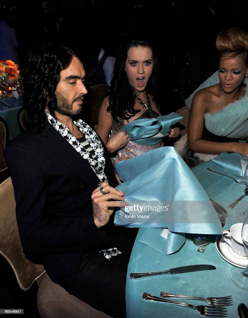 Russell Brand, Katy Perry and Rihanna at the 52nd Annual GRAMMY Awards - Salute To Icons Honoring Doug Morris held at The Beverly Hilton Hotel on January 30, 2010 in Beverly Hills, California.