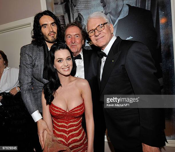 WEST HOLLYWOOD CA MARCH 07 *EXCLUSIVE* Russell Brand Katy Perry and Steve Martin attends the 2010 Vanity Fair Oscar Party hosted by Graydon Carter at...