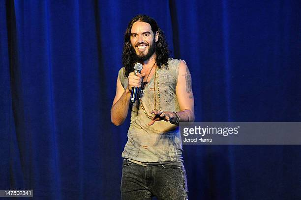 """Russell Brand performs at the David Lynch Foundation's """"Night Of Comedy"""" at the Beverly Wilshire Four Seasons Hotel on June 30, 2012 in Beverly..."""
