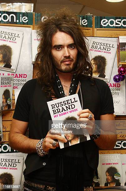 Russell Brand signs copies of his book My Booky Wook in Easons O'Connell Street on November 24 2007 in Dublin Ireland