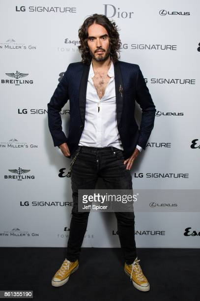 Russell Brand takes part in a discussion at Esquire Townhouse Carlton House Terrace on October 14 2017 in London England