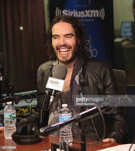 Russell Brand visits 'The Opie Radio Show' at SiriusXM Studios on October 15, 2014 in New York City.
