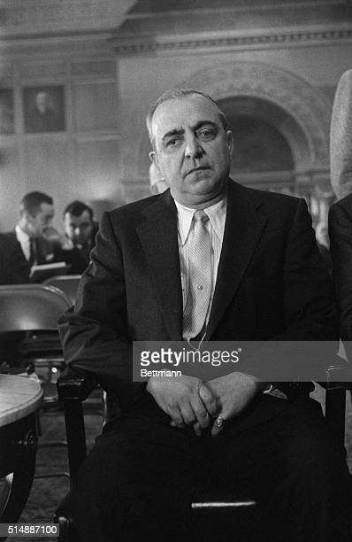 Russell Bufalino of Kingston Pennsylvania appears before the legislative watch dog committee during hearings in the Capitol on the Apalachin New York...