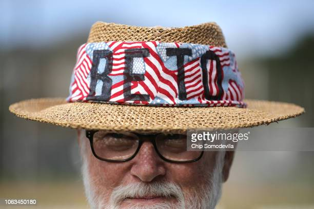Russell Chichester of Del Valley sports his homemade hat in support of U.S. Senate candidate Rep. Beto O'Rourke during a campaign rally at the Pan...