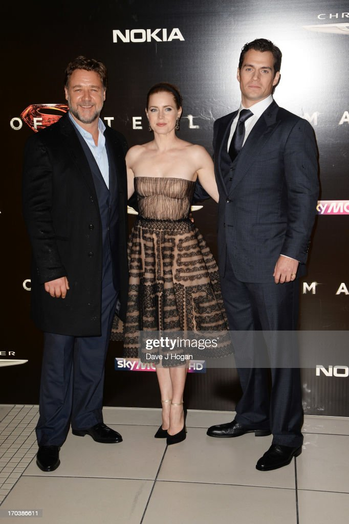 Russell Crowe, Amy Adams and Henry Cavill attend the European premiere of 'Man Of Steel' at The Empire Leicester Square on June 12, 2013 in London, England.