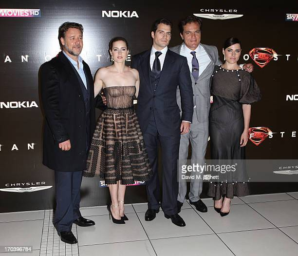 Russel Crowe Amy Adams Henry Cavill Michael Shannon and Antje Traue attend the UK Premiere of 'Man of Steel' at Odeon Leicester Square on June 12...