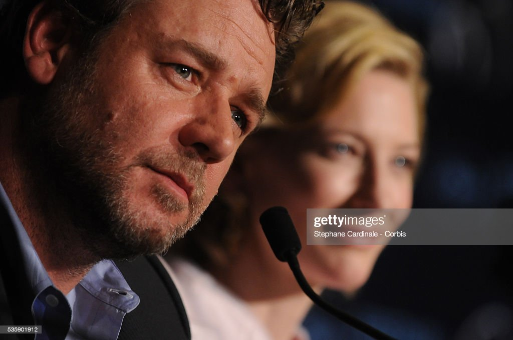 Russell Crowe and Cate Blanchett at the press conference for ?Robin Hood? during the 63rd Cannes International Film Festival.