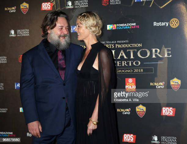 Russell Crowe and Connie Nielsen attend the 'Il Gladiatore In Concerto' charity night at Colosseum on June 6 2018 in Rome Italy
