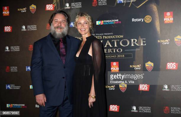 Russell Crowe and Connie Nielsen attend the 'Il Gladiatore In Concerto' charity night at Colosseum on June 6, 2018 in Rome, Italy.