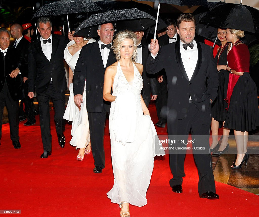 Russell Crowe and Danielle Spencer at the Opening Dinner during the 63rd Cannes International Film Festival.