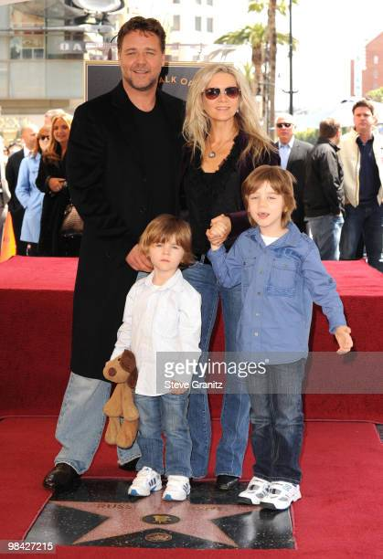 Russell Crowe and family attends the Russell Crowe Hollywood Walk Of Fame Induction Ceremony on April 12, 2010 in Hollywood, California.