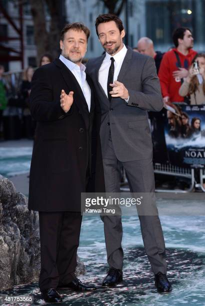 Russell Crowe and Hugh Jackman attend the UK premiere of 'Noah' held at the Odeon Leicester Square on March 31 2014 in London England