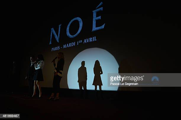 Russell Crowe and Jennifer Connelly attend the Paris Premiere of 'NOAH' at Cinema Gaumont Marignan on April 1 2014 in Paris France