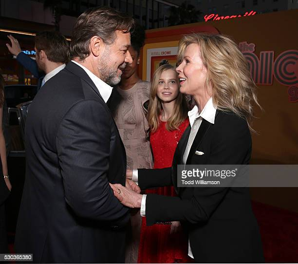 Russell Crowe and Kim Basinger attend the premiere of Warner Bros Pictures' 'The Nice Guys' at TCL Chinese Theatre on May 10 2016 in Hollywood...