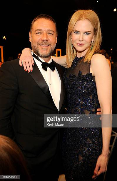 Russell Crowe and Nicole Kidman attend the 19th Annual Screen Actors Guild Awards at The Shrine Auditorium on January 27 2013 in Los Angeles...