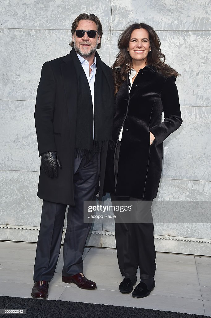 Russell Crowe and Roberta Armani arrive at the Giorgio Armani show ... b5633e75be3