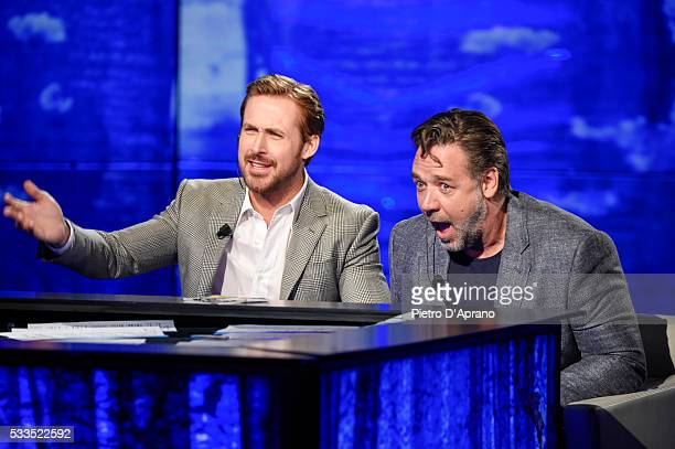 Russell Crowe and Ryan Gosling attend the 'Che Tempo Che Fa' Tv Show on May 22 2016 in Milan Italy
