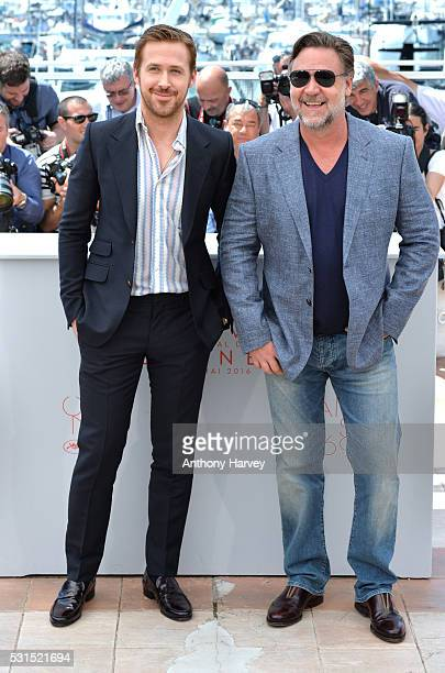 Russell Crowe and Ryan Gosling attend 'The Nice Guys' photocall during the 69th annual Cannes Film Festival at the Palais des Festivals on May 15...
