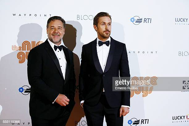 Russell Crowe and Ryan Gosling attend the 'The Nice Guys' premiere at The Space Moderno on May 20 2016 in Rome Italy
