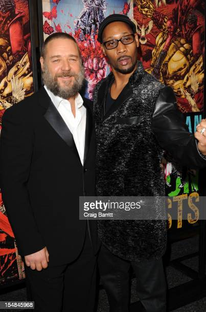 Russell Crowe and RZA attend 'The Man With Iron Fists' New York Special Screening at Lighthouse International Theater on October 27 2012 in New York...