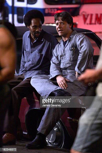 Russell Crowe and RZA during Russell Crowe and RZA on Set of American Gangster August 3 2006 at Brooklyn in New York City New York United States