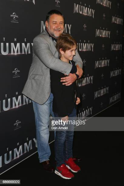 Russell Crowe and Tennyson Spencer Crowe arrive ahead of The Mummy Australian Premiere at State Theatre on May 22 2017 in Sydney Australia