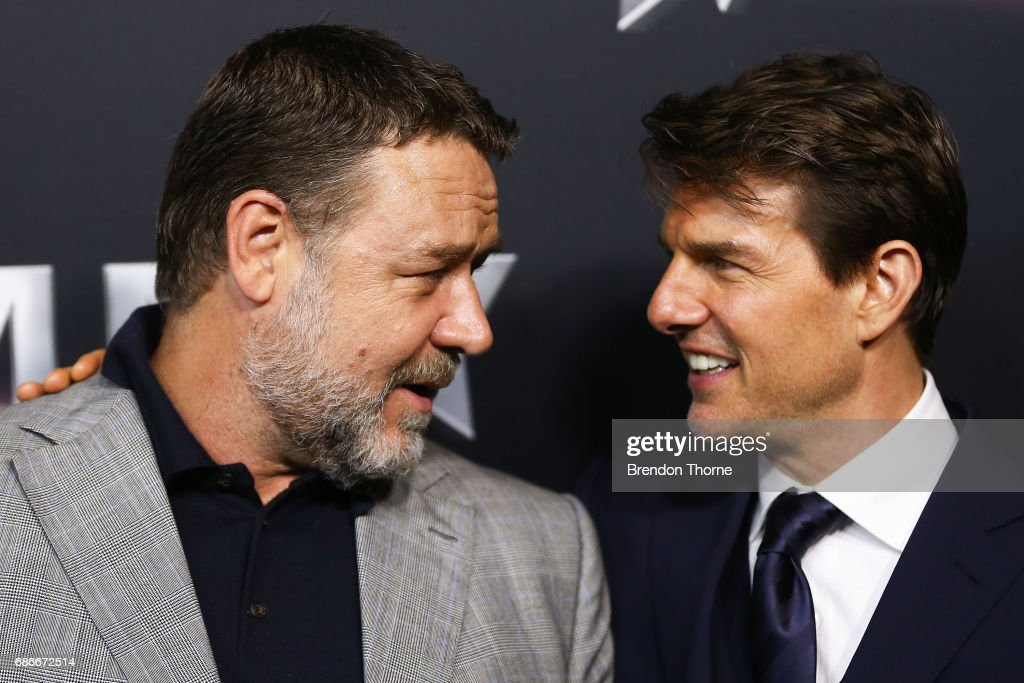 Russell Crowe and Tom Cruise arrive ahead of The Mummy Australian Premiere at State Theatre on May 22, 2017 in Sydney, Australia.